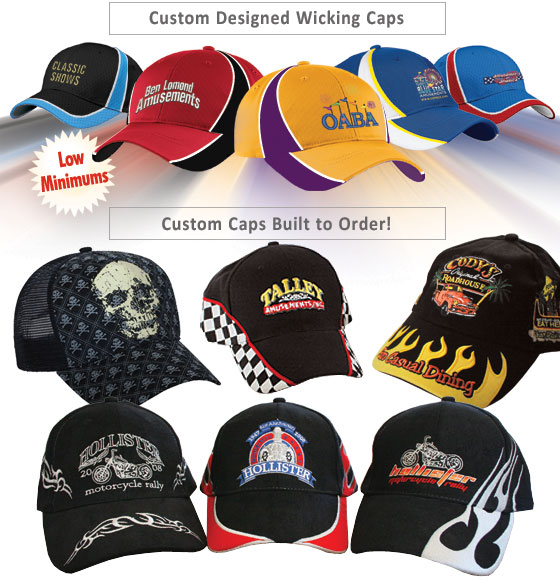 Custom headwear custom caps custom visors wicking for Custom t shirts low minimum